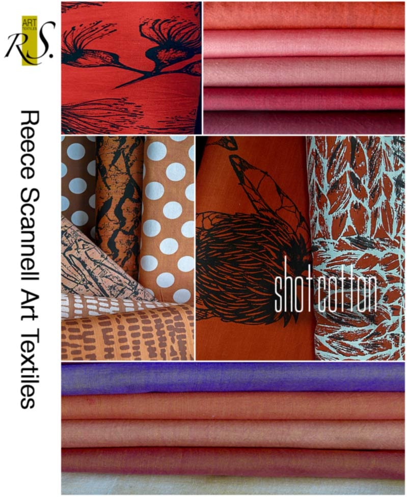 Hand Printe Linen and Cottons in Red and Orange Tones.